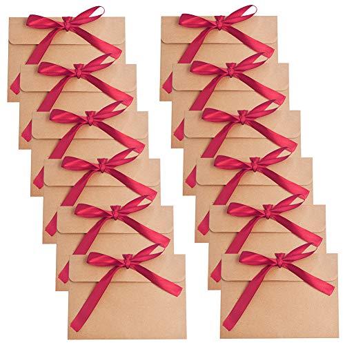 Sobres Papel Kraft Retro,BETOY 30 PCS Papel Kraft Rojo Portátil y Práctico Sobres de...