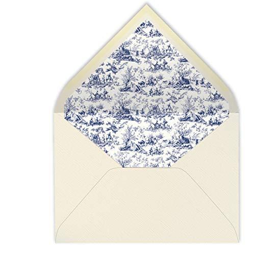 sobres forrados CLÁSICO MARFIL- TOILE ESTAMPADO- 22,5x16,5 cm (azul marino)