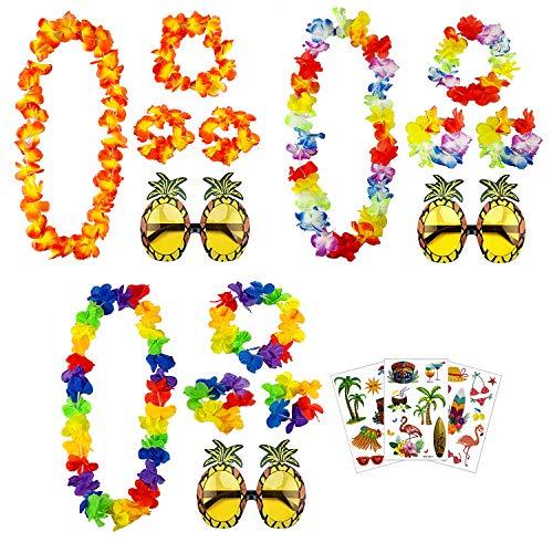 aovowog Hawaianas Guirnaldas Collares Pulseras Diadema y Tatuajes y Gafas de Sol de Piña...