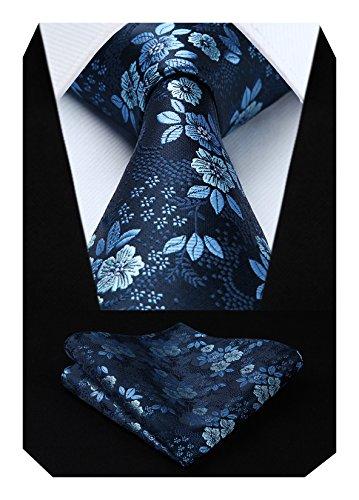 HISDERN Extra largo Floral Paisley lazo del panuelo Hombres Corbata & Plaza de bolsillo...