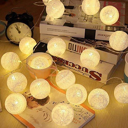 ELINKUME® LED Bolas de algodón luces de hadas, 20 LEDs 4M / 13,12 pies, alimentado por...