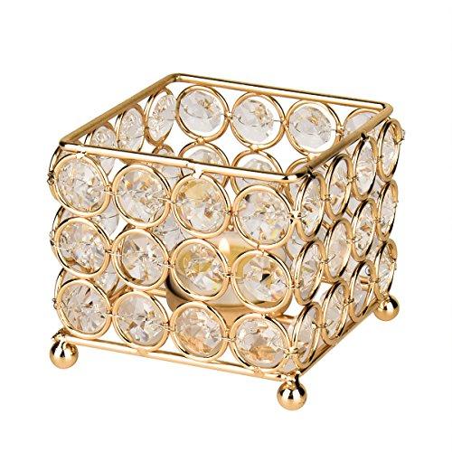 Nicetai - Candelabro de cristal dorado para centros de mesa de boda, candelabros de fiesta...