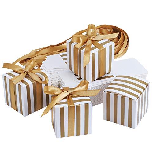 TsunNee Caja de papel cuadrada para dulces de boda, caja de regalo de fiesta a rayas,...