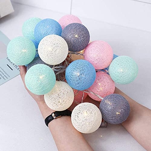 LED Bolas de Algodón Luces Decorativas Habitación, Guirnaldas Luminosas de Cadena con...
