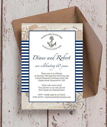 Personalizado Náutico temáticas de aniversario de boda invitaciones con sobres...