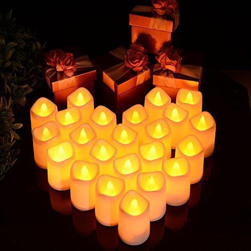LUNSY Luces en forma de vela Luces de té LED sin llama Juego de luces de vela con pilas...
