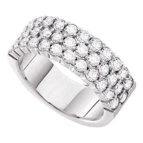 Jewels By Lux Alianza de boda de oro blanco de 14 quilates con pavé de diamantes redondos...