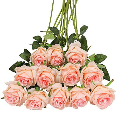 Tifuly 12 PCS Rosas Artificiales, Realista Largo Tallo Falso Rosa Seda Nupcial Ramo de...