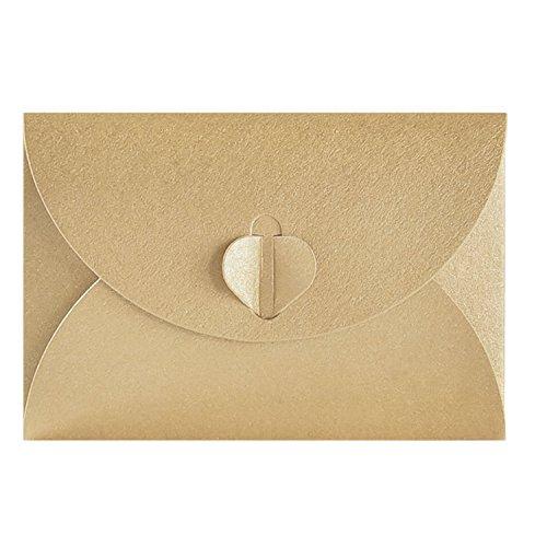 50pcs Sobre de papel Kraft,Creativo retro Sobre en forma de corazón lindo, para la boda,...