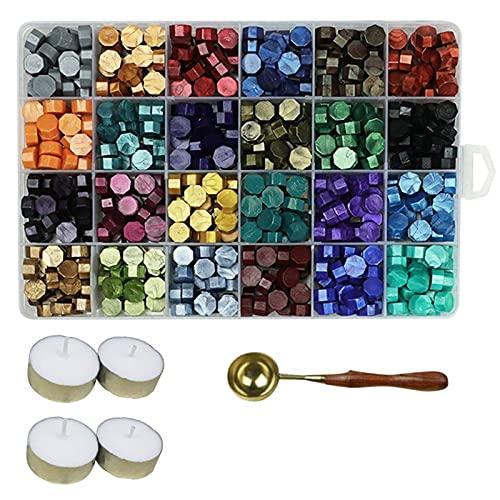 Aiboria Juego de 600 perlas de cera para sellado, vintage, multicolor, con velas de té y...