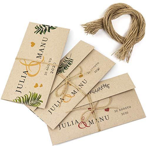 50 Sobres Invitación Boda Personalizados Originales + 50 hilos yute, impresos a medida...