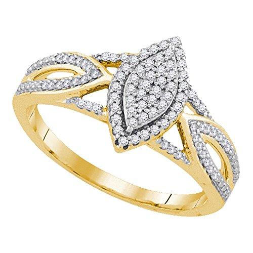 Anillo de compromiso ovalado de oro amarillo de 10 quilates con diamantes redondos de 1/4...