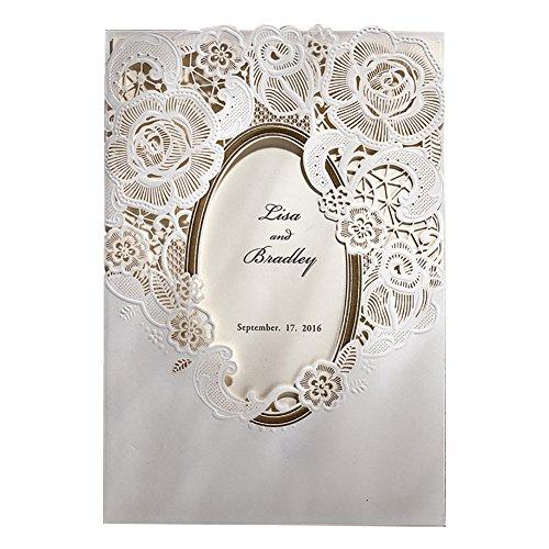 WISHMADE Elegante corte de oro Estampado de oro Tarjetas de invitaciones de boda,...