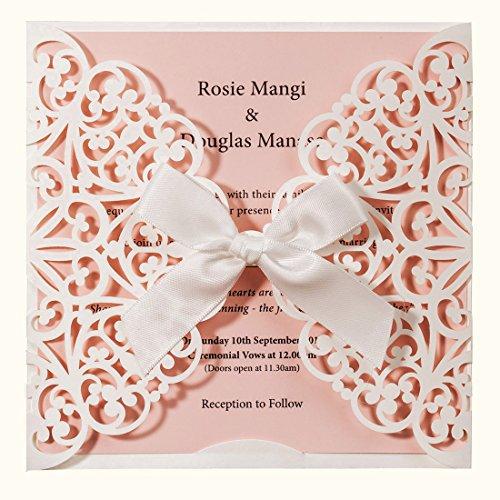 Wishmade 20pcs invitaciones de boda con corte láser cuadrado blanco y rosa tarjetas con...