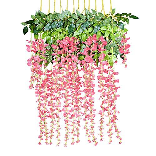 YQing 12 Piezas Flores Artificiales Plantas Decoración Seda Wisteria Artificial Flores...