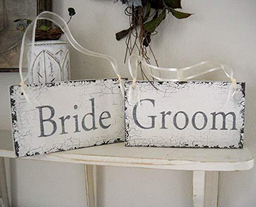 Stan256Nancy - Juego de 2 carteles para silla de novia y novio (2 unidades, 9 x 5 cm),...