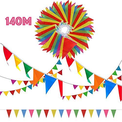 SERWOO 140m/290pcs Guirnaldas Banderas Banderines Fiesta Colores Triángulo Bunting...