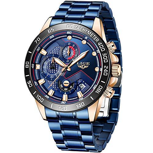 LIGE Reloj para Hombre Elegante Moda Cronógrafo Acero Inoxidable Reloj de Pulsera...