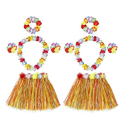HONGXIN-SHOP Falda de Hierba Hawaiana con Elástica Flores Disfraces Guirnalda Diadema...