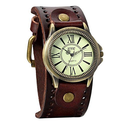 Avaner Reloj de Moda Retro Vintage de Cuero Marron, Números Romanos Reloj de Pulsera...