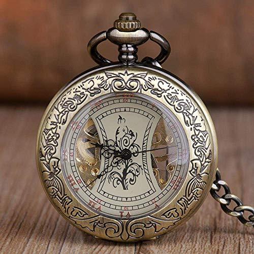 J-Love Esqueleto Steampunk Relojes de Bolsillo Bronce Retro Collar Cadena Reloj de...