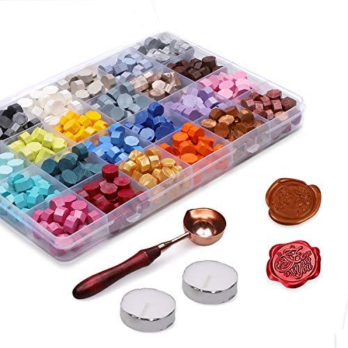 Xiangmall 600 Piezas Cuentas de Cera de Sellado Retro Colorido Perlas de Cera Sello con...