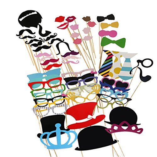 TINKSKY 60pcs Funny Photo Booth Props Mustache Mask for Wedding / Party / Christmas