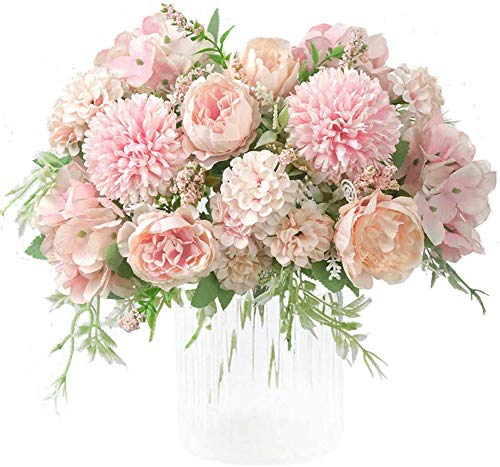 Kokmn 2 piezas flores artificiales, peonía falsa seda hortensia ramo decoración...