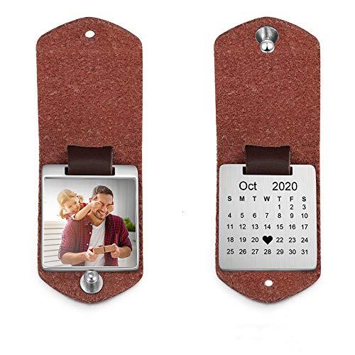 Llavero Personalizado Foto Personalizada Llavero de Cuero para Hombres Mujeres Calendario...
