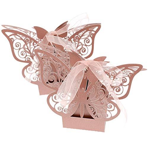 BIYM Blanco/Rosa/Violeta 50 Cajas de azúcar para Boda con Forma de Mariposa Cortada con...
