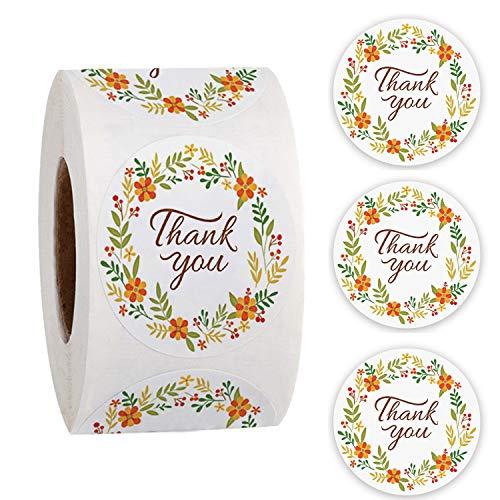 500 pegatinas redondas de agradecimiento florales, etiquetas adhesivas con etiquetas...