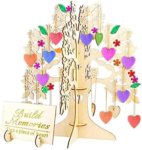Árbol de deseos de madera 3D con 100 piezas de adornos colgantes de corazón,...