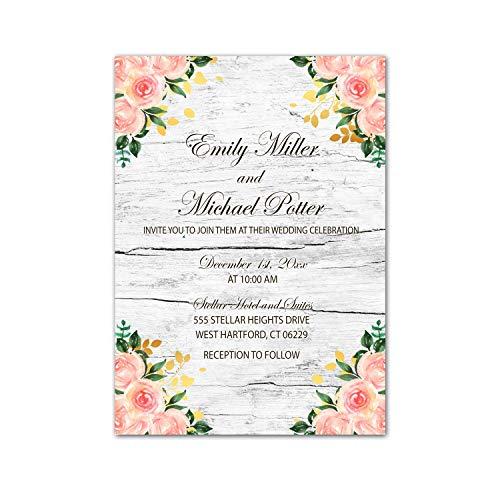 100 invitaciones de boda personalizables, diseño floral, color dorado y rosa