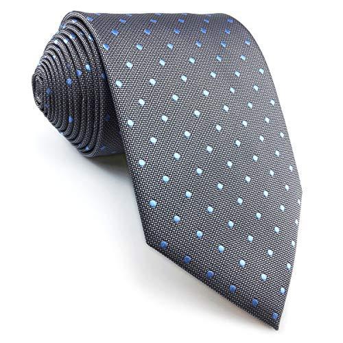 shlax&wing Herren Tie Gris Azul Puntos Krawatte Herren Seide Extra Lang 160cm