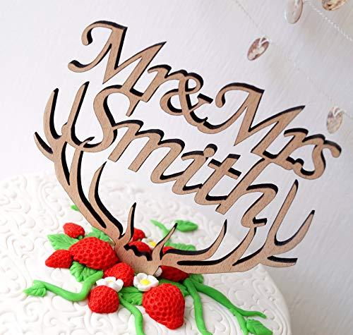 Adorno para tarta de boda con diseño de Mr Mrs Mrs, para decoración de tarta rústica,...
