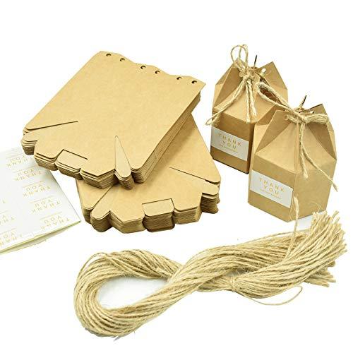 Wandefol 50pcs Caja Kraft de Regalo, Cajitas Kraft con Cuerda de Yute, Caja de Papel con...
