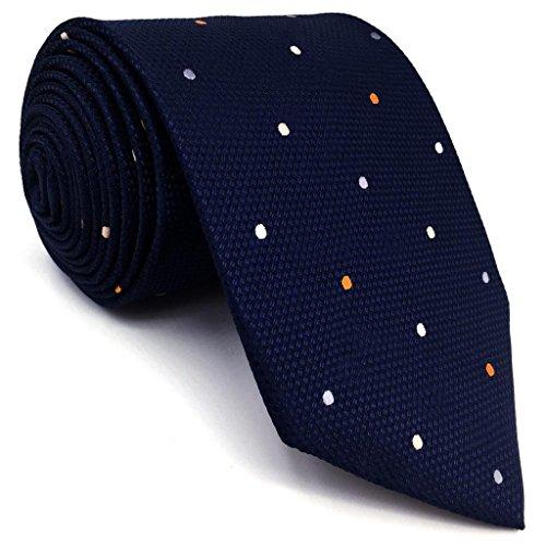 shlax&wing S&W Herren Ties Krawatte Navy Puntos Classic 147cm