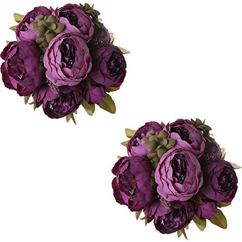 Tifuly 2 Piezas de Ramos de peonía Artificial, Ramo de Flores de imitación de peonías...