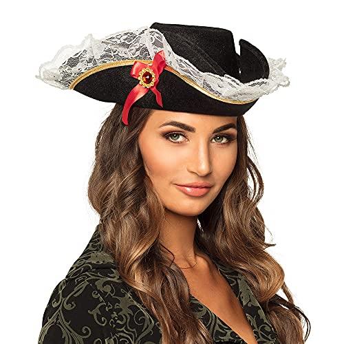 Boland- Sombrero pirata Stacey para adultos, Color negro, talla única (81928) ,...