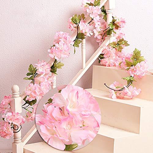 MZMing 2piezasx235cm Flores de Cerezo Artificiales Colgante Vines Guirnaldas de de...