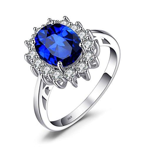 JewelryPalace Anillos Mujer Plata Princesa Diana Kate Middleton Creado Zafiro Esmeralda,...