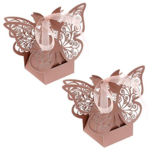 Caja de 50 piezas para bonificación de boda, color rosa, para manualidades, con láser,...