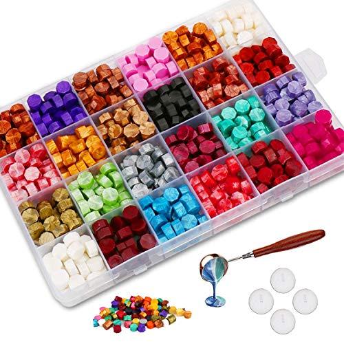 Jxunter 600 Perlas de Cera Selladora con 4 Velas de Té y 1 Cuchara para Derretir Cera...