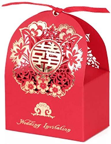 YXCUIDP 10 PCS Rojo láser Corte Chino Boda Caja de Caramelo Papel Caja de Chocolate...
