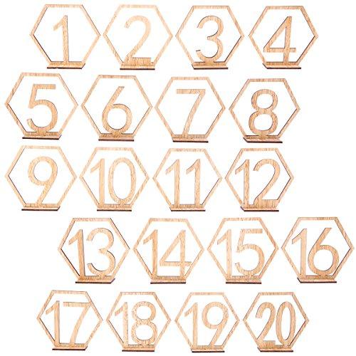 BESTOYARD Números de Madera para Mesas Decoración Bodas Vintage 1-20
