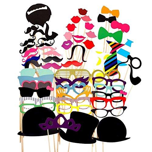 Paquete de 58 accesorios para Photocall con distintos diseños como pajaritas, bigotes,...