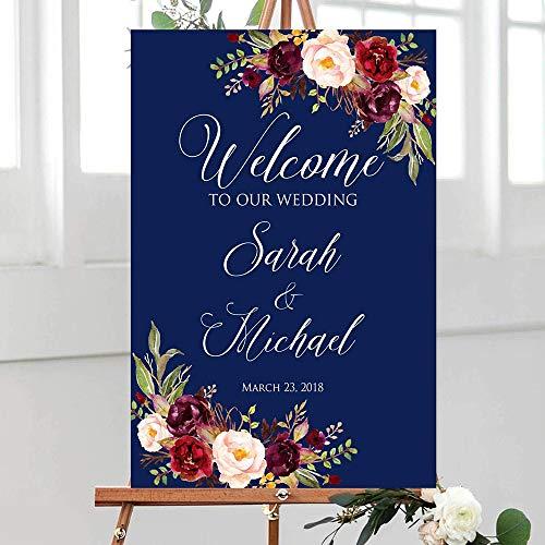 happygoluck1y Cartel de boda con diseño floral bohemio, letrero de bienvenida de boda,...