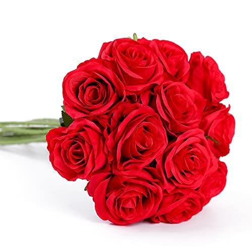 Floralsecret 12 Piezas Rosas Artificiales Ramo Flores Imidacial de Seda Decoración de...