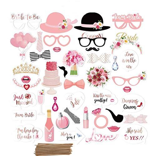 Amycute 44 pcs Boda Photo Booth Props, DIY Bigotes Gafas Sombreros Labios Lazo corbata...