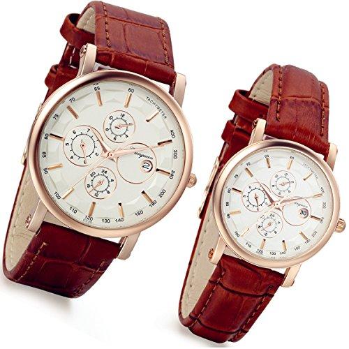 Lancardo Reloj de pulsera de cuarzo para pareja Lovers con correa de piel artificial 3...